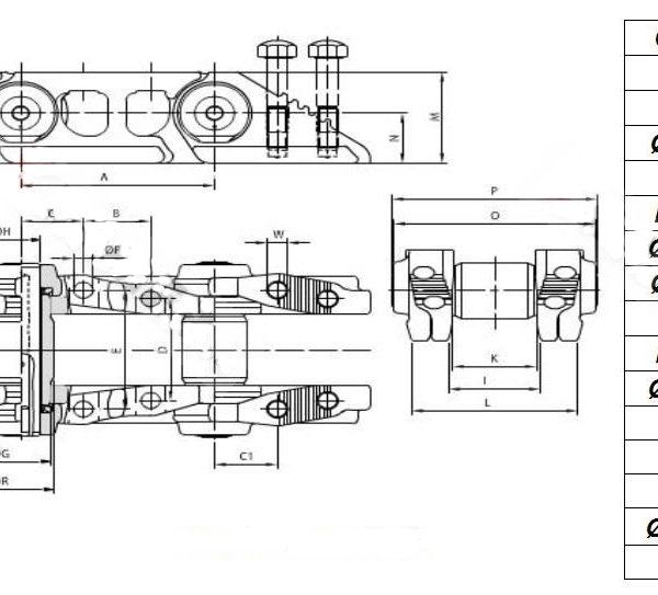 Vikšrų grandinės CAT D3B D3C D4B D4C 933 933C 933LGP