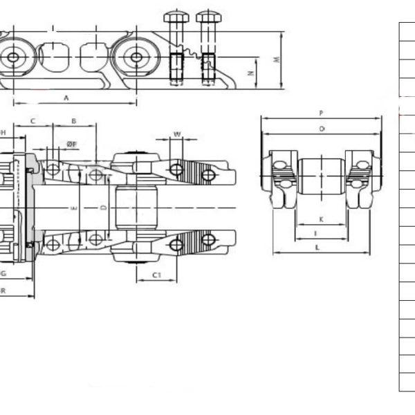 Vikšrų grandinės JSB 44 nareliai CAT / CATERPILLAR D4H D5M D5N TIPAS 2